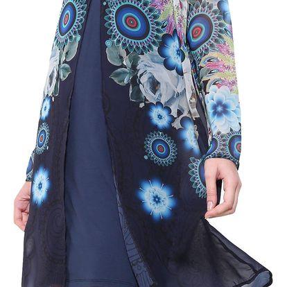 Desigual modré šaty Justine s mandalami