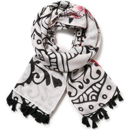 Desigual černo-bílý šátek Ava