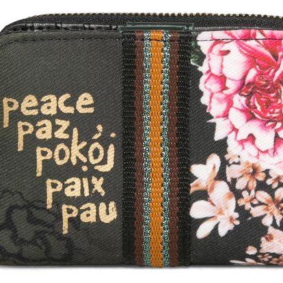 Desigual khaki peněženka Magnetic Military Flores