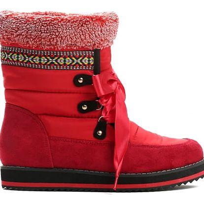 Dámské červené sněhule Lubna 9098