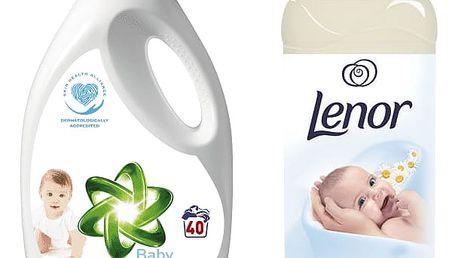 ARIEL Baby gel 2,6l (40 dávek) + LENOR Gentle Touch 930ml (31 dávek)