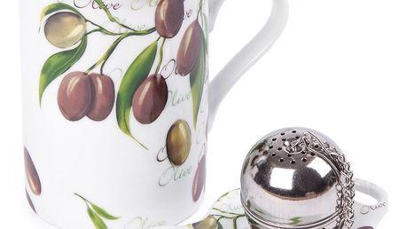 Sada hrnku 250 ml, čajítka a talířku Olive