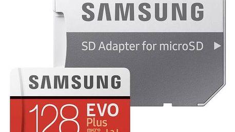 Paměťová karta Samsung Micro SDXC EVO+ 128GB UHS-I U3 (100R/90W) + adapter (MB-MC128GA/EU) + Doprava zdarma