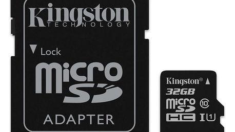 Paměťová karta Kingston 32GB UHS-I U1 (45R/10W) + adapter (SDC10G2/32GB)