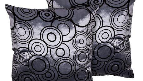 Jahu Povlak na polštářek Basic Kruhy šedá, 40 x 40 cm, sada 2 ks