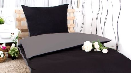 XPOSE ® Prodloužené bavlněné povlečení MICHAELA DUO - tmavě šedá/černá 140x220, 70x90