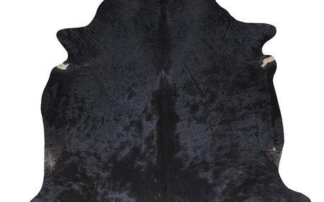 Černý koberec z hovězí kůže, 220 x 240 cm - doprava zdarma!