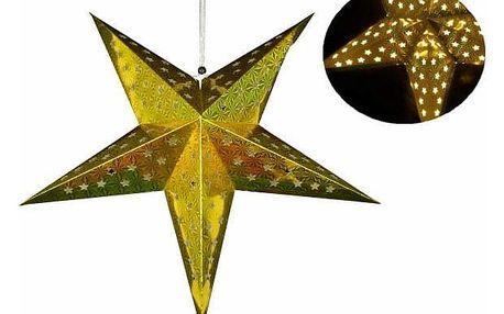 Nexos 29229 Vánoční dekorace - hvězda s časovačem 60 cm - 10 LED, zlatá