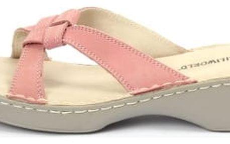 Kvalitní dámská kožená pantofle s překřížením růžová