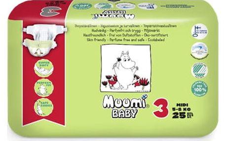 MUUMI Baby 25 ks MIDI 5-8 kg, vel. 3 - jednorázové pleny