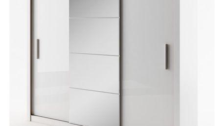 Šatní skříň IDEA 01 bílá zrcadlo 250 cm