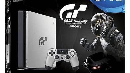 Herní konzole Sony PlayStation 4 SLIM 1TB + Gran Turismo Sport Speciální edice + PS Plus 14 dní (PS719909767) černá/stříbrná + Doprava zdarma