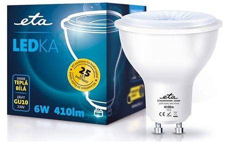 Žárovka LED ETA EKO LEDka bodová, 6W, GU10, teplá bílá (GU10-PR-410-16A)