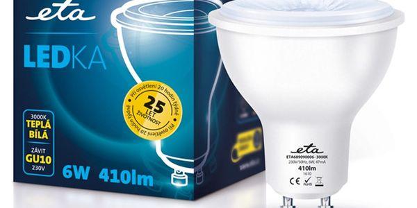 Žárovka LED ETA EKO LEDka bodová, 6W, GU10, teplá bílá (GU10-PR-410-16A)3