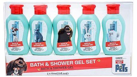 Universal The Secret Life Of Pets sprchový gel dárková sada U - sprchový gel 5x 60 ml