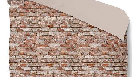 Hnědé bavlněné povlečení na jednolůžko Muller Textiels Brick,140x200cm