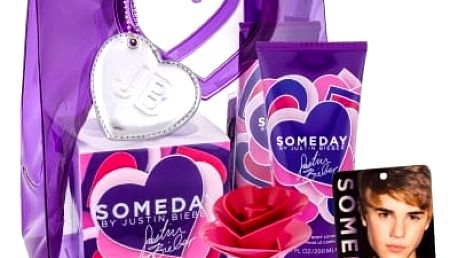 Justin Bieber Someday dárková kazeta pro ženy parfémovaná voda 30 ml + tělové mléko 200 ml + osvěžovač místnosti
