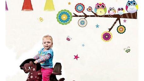 Samolepicí dekorace Sovičky na větvi