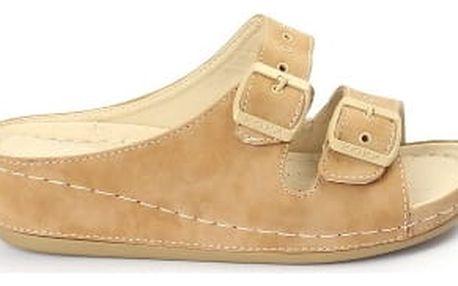 Dámské pantofle KOKA nadměrné velikosti 40-43 béžové