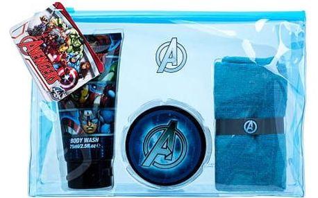 Marvel Avengers sprchový gel dárková sada U - sprchový gel 75 ml + gel na vlasy 75 ml + žínka + kosmetická taška