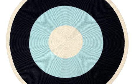Modročerný koberec Done by Deer, ⌀113cm