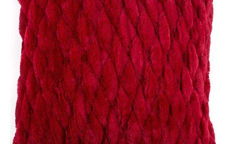 BO-MA Povlak na polštářek chlupatý prošívaný červená, 45 x 45 cm