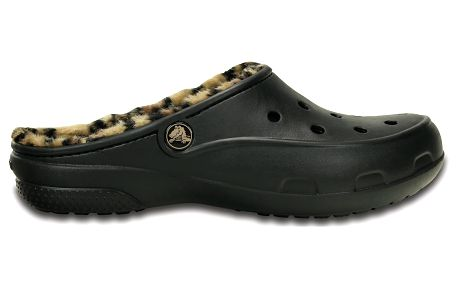 Pantofle Crocs Freesail Leopard Lined Black