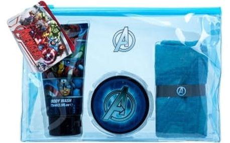 Marvel Avengers dárková kazeta sprchový gel 75 ml + gel na vlasy 75 ml + žínka + kosmetická taška