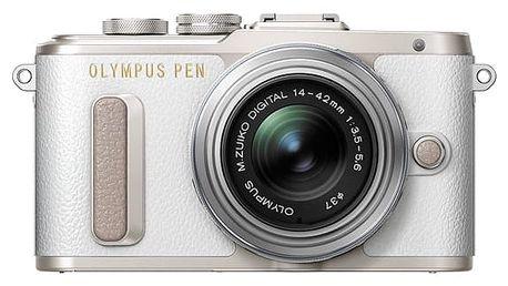 Digitální fotoaparát Olympus PEN E-PL8 + 14-42 Pancake Zoom stříbrný/bílý Brašna na foto/video Lowepro Format 110 černá + DOPRAVA ZDARMA