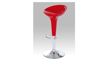 Barová židle AUB-9002 barva červená plast/chrom