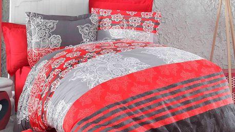 Kvalitex Bavlněné povlečení Delux Stripes červená, 220 x 200 cm, 2 ks 70 x 90 cm