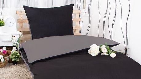 XPOSE ® Bavlněné povlečení na dvě lůžka MICHAELA DUO - tmavě šedá/černá 140x200, 70x90