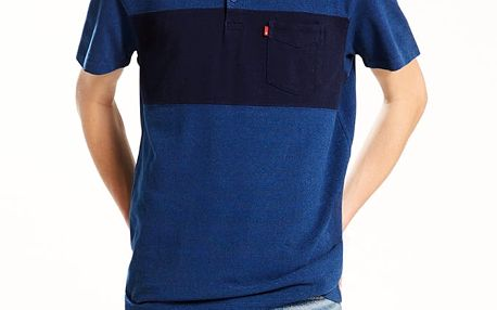 Tričko LEVI'S Sunset Pieced Polo Chest Stripe Medium Modrá