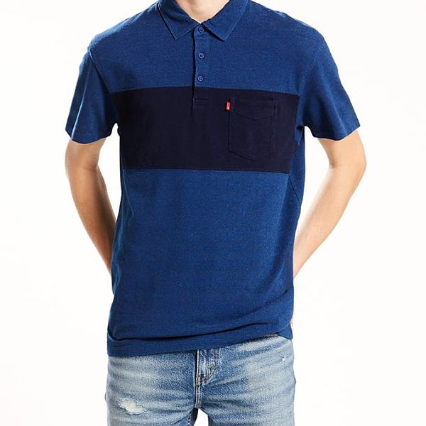 Tričko LEVI'S Sunset Pieced Polo Chest Stripe Medium Modrá
