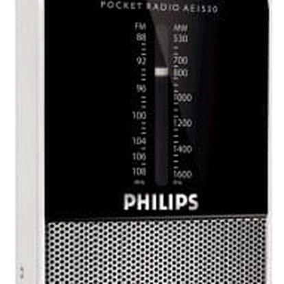 Radiopřijímač Philips Pocket radio AE AE1530 černý/stříbrný