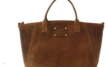 Hnědá kožená kabelka O My Bag Fly Violet Midi - doprava zdarma!