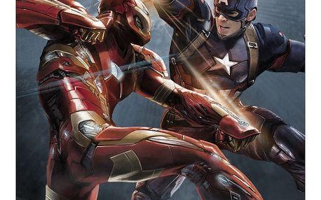 Nástěnná cedule Civil War Divided We Fall - Cap vs Iron Man