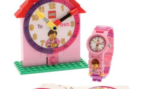 Růžové hodinky a výuková stavebnice LEGO® Time Teacher