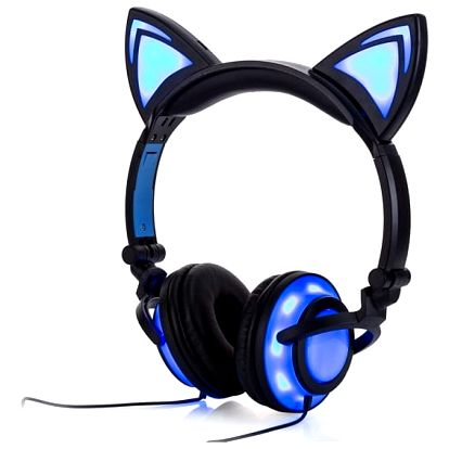 Stylová sluchátka v podobě svítících kočičích oušek