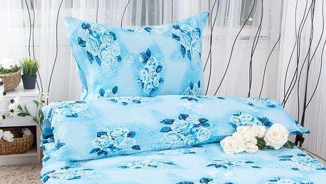 XPOSE ® Krepové povlečení ODETA - modrá 140x200, 70x90