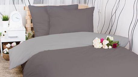 XPOSE ® Francouzské bavlněné povlečení MICHAELA DUO - tmavě šedá/světle šedá 200x220, 70x90