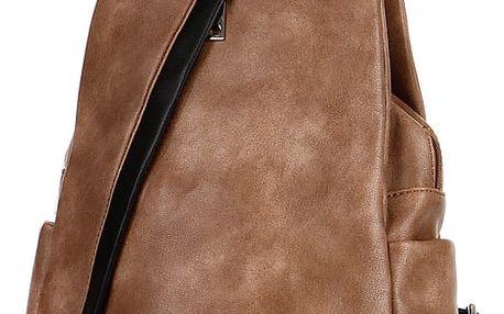 Koženkový batoh/kabelka 3V1 světle hnědá