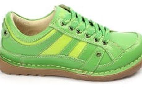 Kvalitní dámské kožené boty SUPER IN Strips Green