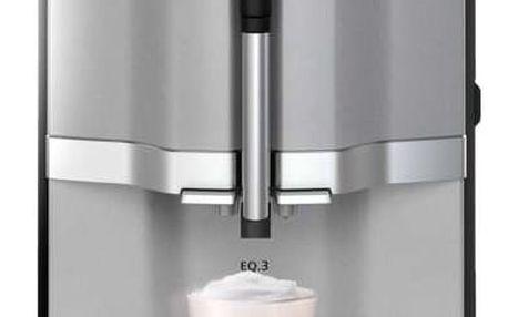 Espresso Siemens EQ.3 TI303203RW šedé + dárky Káva zrnková Jacobs DE L´OR BN FORTISSIMO ESPRESSO 500g + Káva zrnková Simon Lévelt BIO Uganda 250 g v hodnotě 388 Kč + DOPRAVA ZDARMA