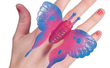Třpytivý blikající prsten Motýl