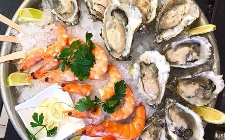 Čerstvé ústřice a krevety v Seafood