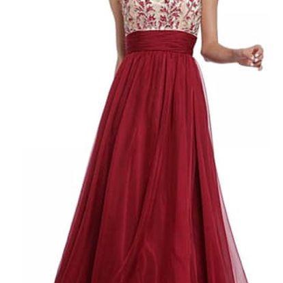 Dlouhé plesové šaty v červené barvě