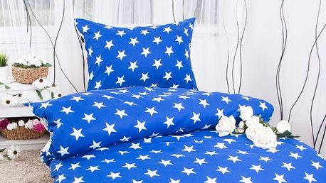 XPOSE ® Prodloužené bavlněné povlečení TARA EXCLUSIVE - modrá 140x220, 70x90