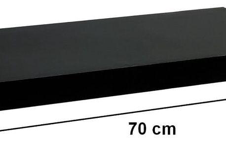 STILISTA 31056 Nástěnná police VOLATO - lesklá černá 70 cm