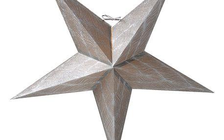 watt & VEKE Závěsná svítící hvězda Anis Silver 66 cm, šedá barva, stříbrná barva, papír